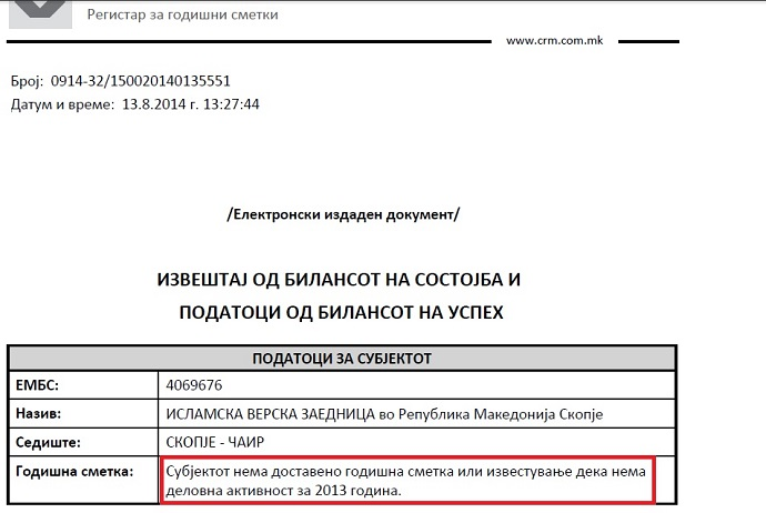 The paper document from the Central Registry of Macedonia