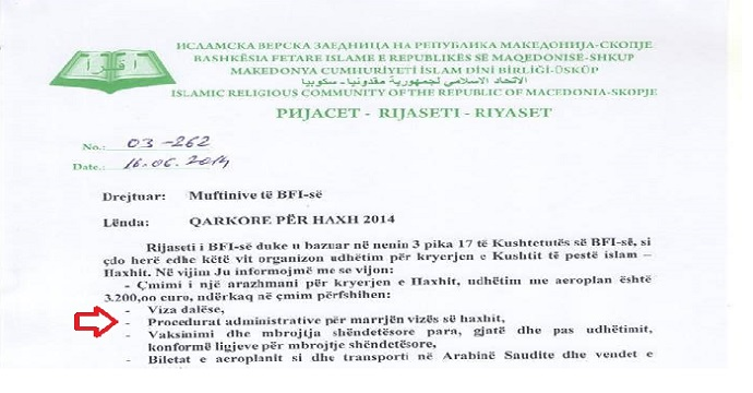 A circular letter of the Islamic Religious Community in Macedonia (IRCM) covering the terms and price of pilgrimage for 2014